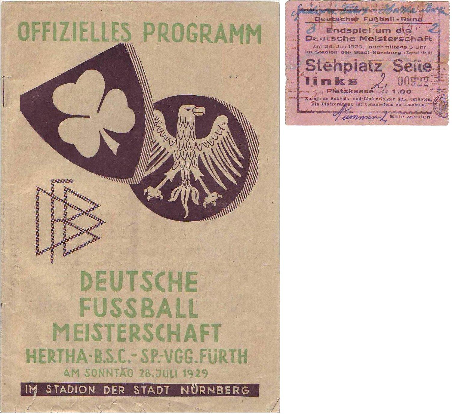 Programmheft und Ticket zum DM-Endspiel 1929